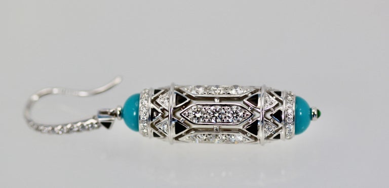Women's Cartier High Jewelry Diamond Turquoise Earrings Deco Inspired 3.93 Carat For Sale