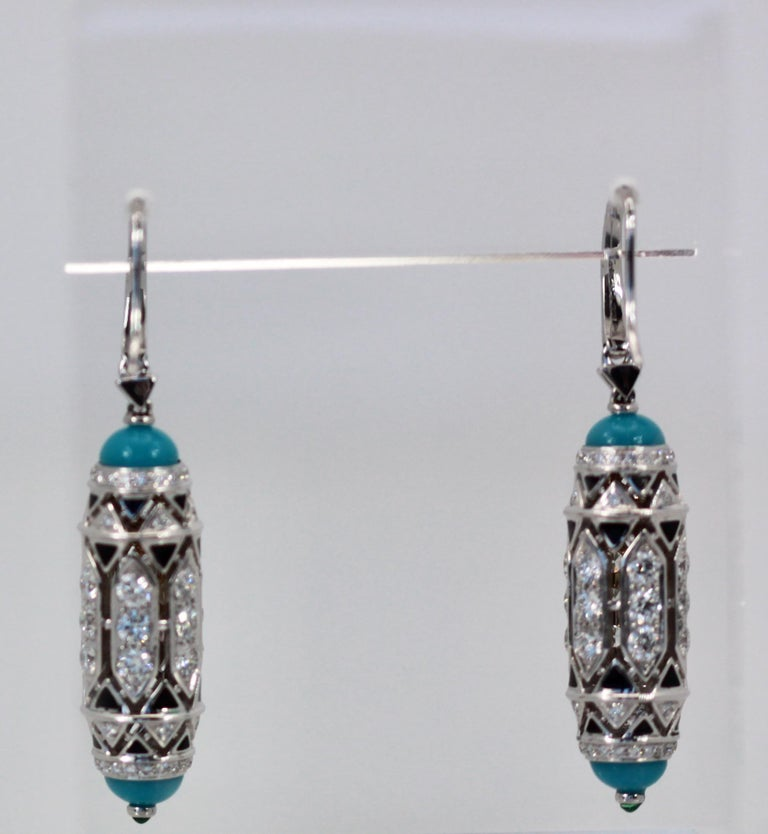 Cartier High Jewelry Diamond Turquoise Earrings Deco Inspired 3.93 Carat For Sale 2
