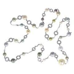 Cartier Himalia Cultured Pearl Diamond White Gold Necklace