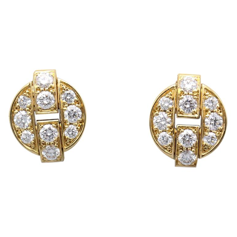 Cartier Himalia Diamond 18 Karat Gold Stud Earrings