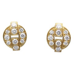 Cartier Himalia Diamond 18 Karat Gold Stud Earrings