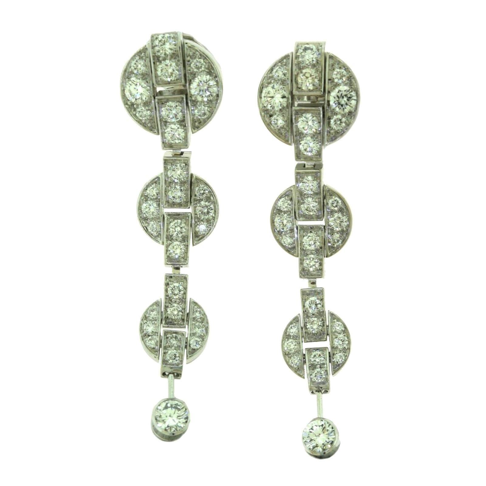 Cartier Himalia Diamond Drop Long Earrings in White Gold