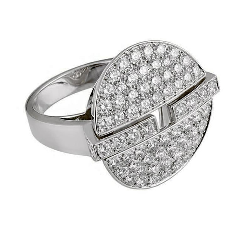 A magnificent Cartier Himalia diamond ring paved with 72 of the finest Cartier round brilliant cut diamonds set in shimmering 18k white gold. The ring measures a size 5 1/4 and can be resized.