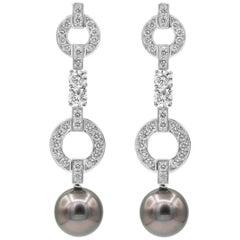 Cartier Himalia Pearl and Diamond Dangle Earrings