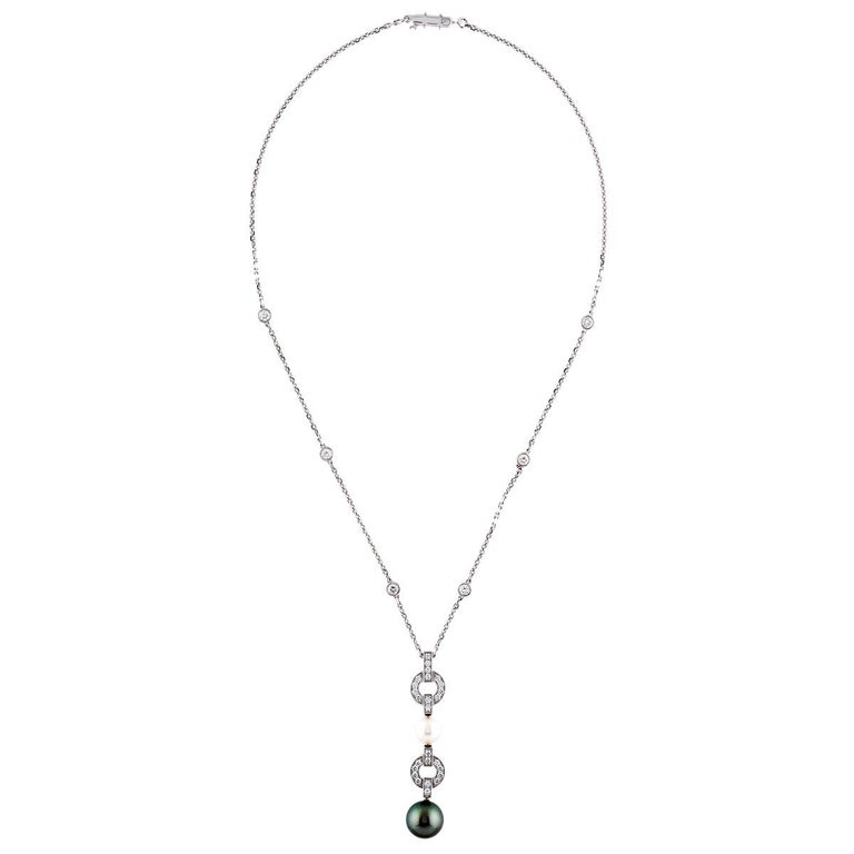 Cartier Himalia Pearl Diamond White Gold Necklace In Excellent Condition For Sale In Feasterville, PA