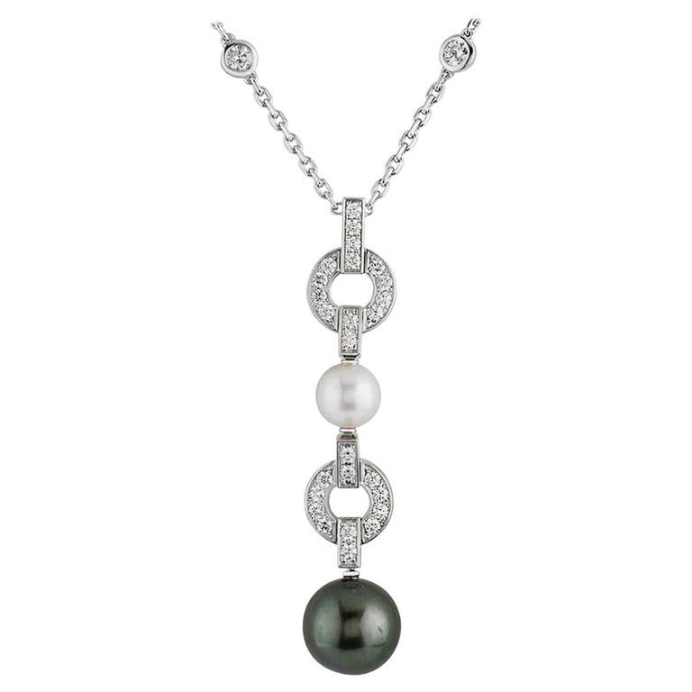 Cartier Himalia Pearl Diamond White Gold Necklace For Sale