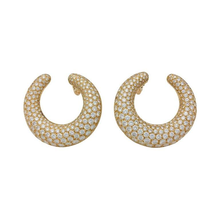 Contemporary Cartier Hoop Earrings, Yellow Gold Set with Diamonds For Sale