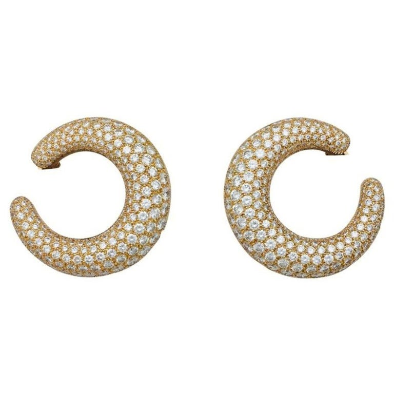 Women's Cartier Hoop Earrings, Yellow Gold Set with Diamonds For Sale