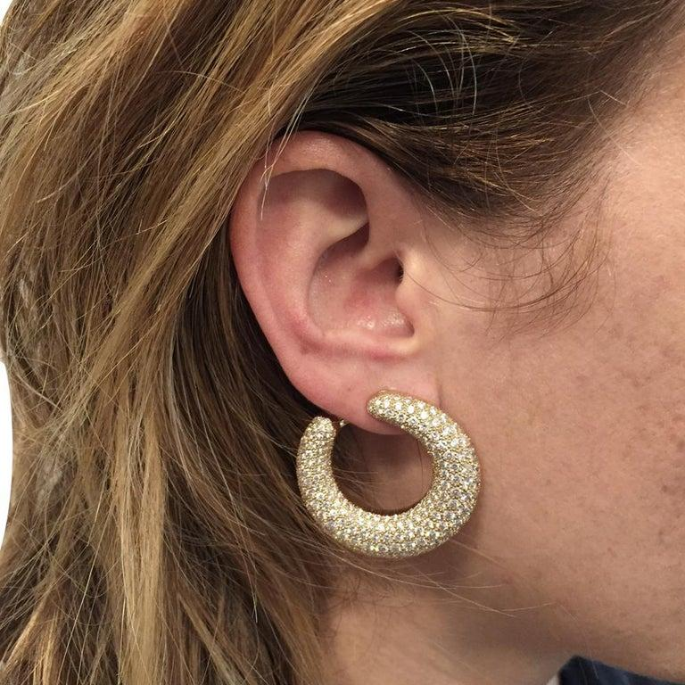 Cartier Hoop Earrings, Yellow Gold Set with Diamonds For Sale 1