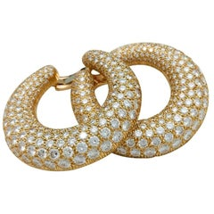 Cartier Hoop Earrings, Yellow Gold Set with Diamonds