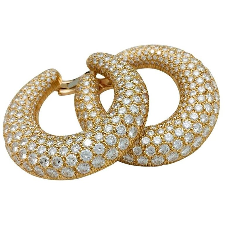 Cartier Hoop Earrings, Yellow Gold Set with Diamonds For Sale