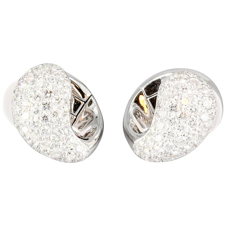 Cartier Huggies Diamond Gold Earrings