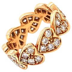 Cartier Infinity Heart Diamond Ring 18 Karat Yellow Gold