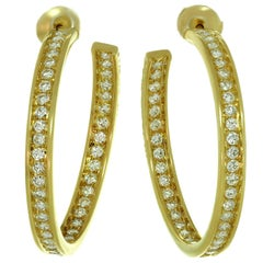 Cartier Inside Out Diamond Yellow Gold Large Hoop Earrings