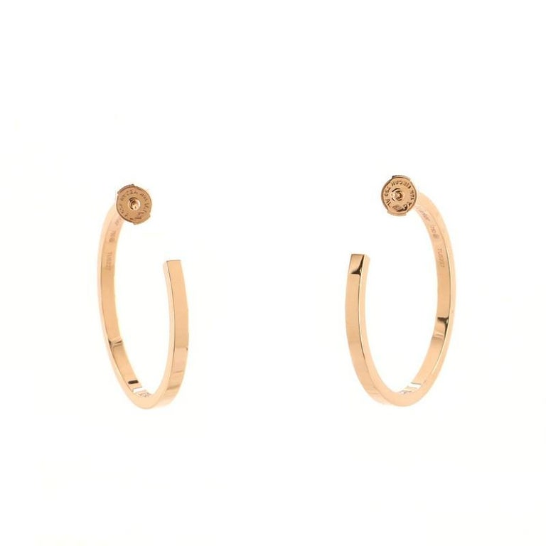 Round Cut Cartier Inside Out Hoop Earrings 18k Rose Gold and Diamonds For Sale