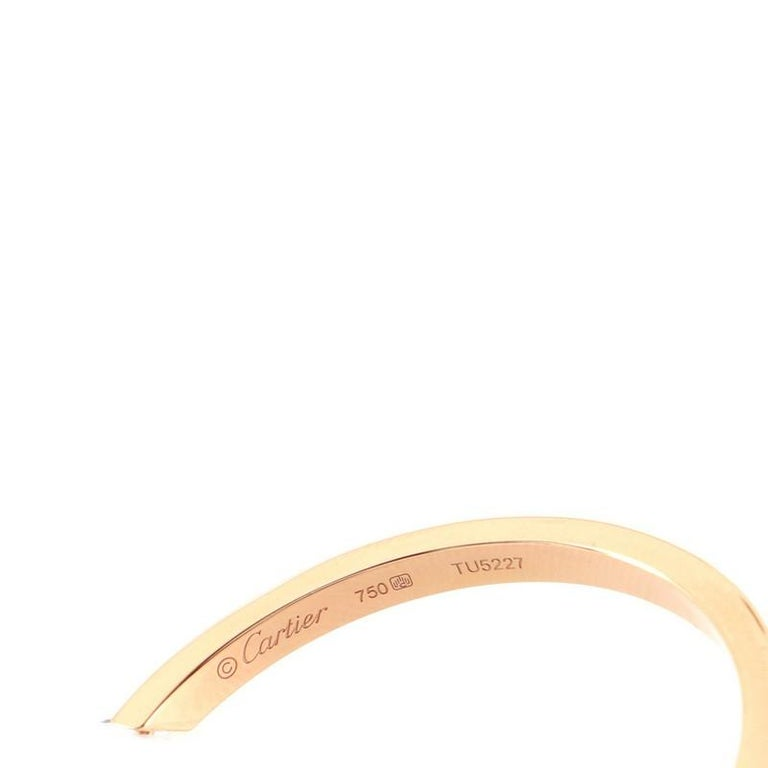 Women's or Men's Cartier Inside Out Hoop Earrings 18k Rose Gold and Diamonds For Sale