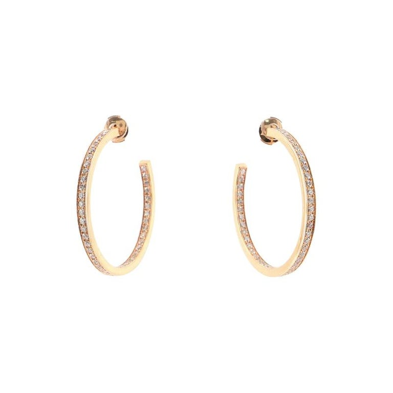 Cartier Inside Out Hoop Earrings 18k Rose Gold and Diamonds For Sale
