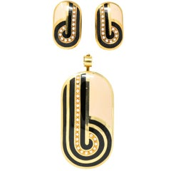 Cartier Italy Retro 1.05 CTW Diamond Enamel & 18 Karat Gold Earrings and Pendant