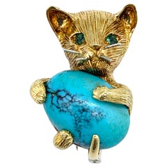 Cartier Italy Vintage Cat Dressclip Turquoise Cabochon Emerald Gold