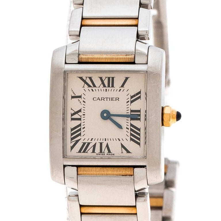 06a5f08d23d0c Contemporary Cartier Ivory 18K Yellow Gold and Stainless Steel Tank  Francaise 2384 Women's Wr For Sale
