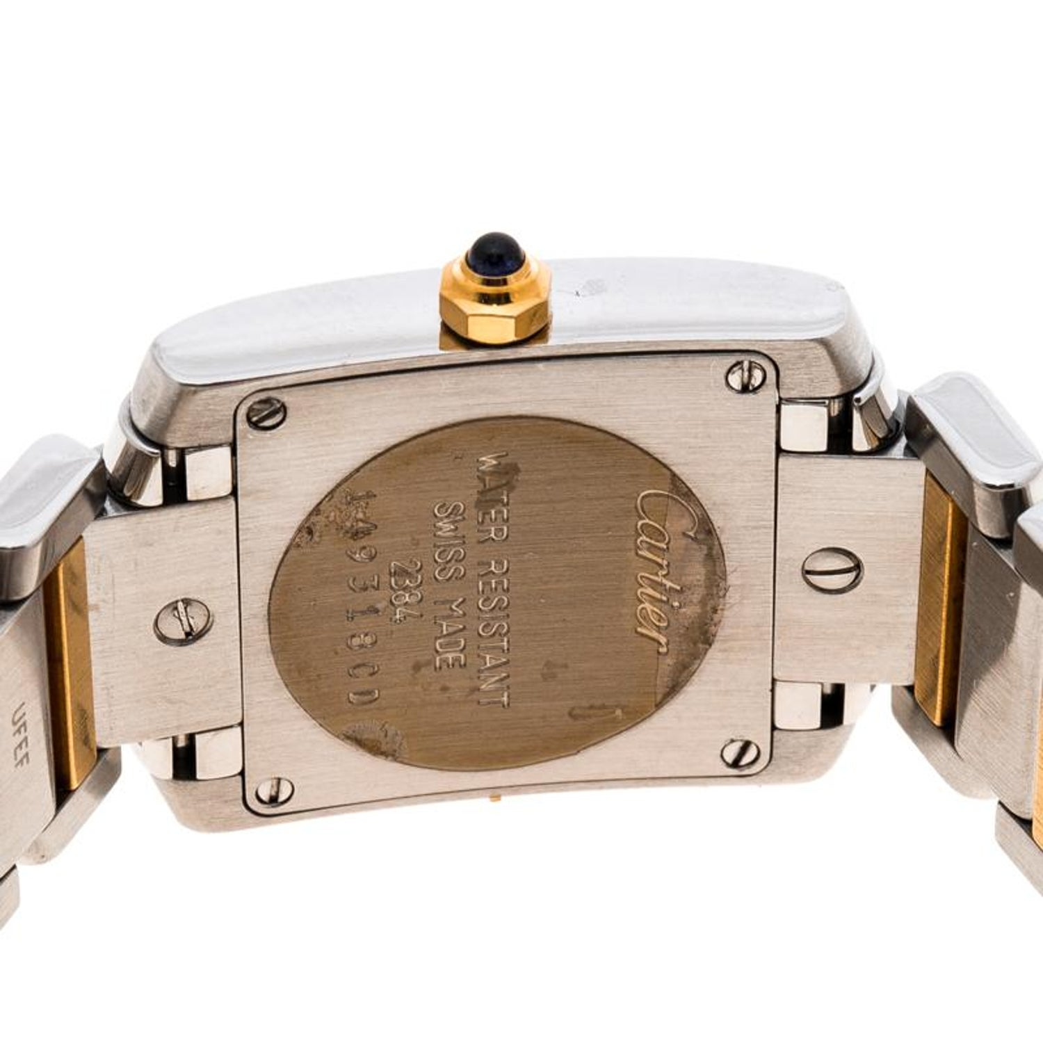 efce5804b1338 Cartier Ivory 18K Yellow Gold and Stainless Steel Tank Francaise 2384  Women's Wr at 1stdibs