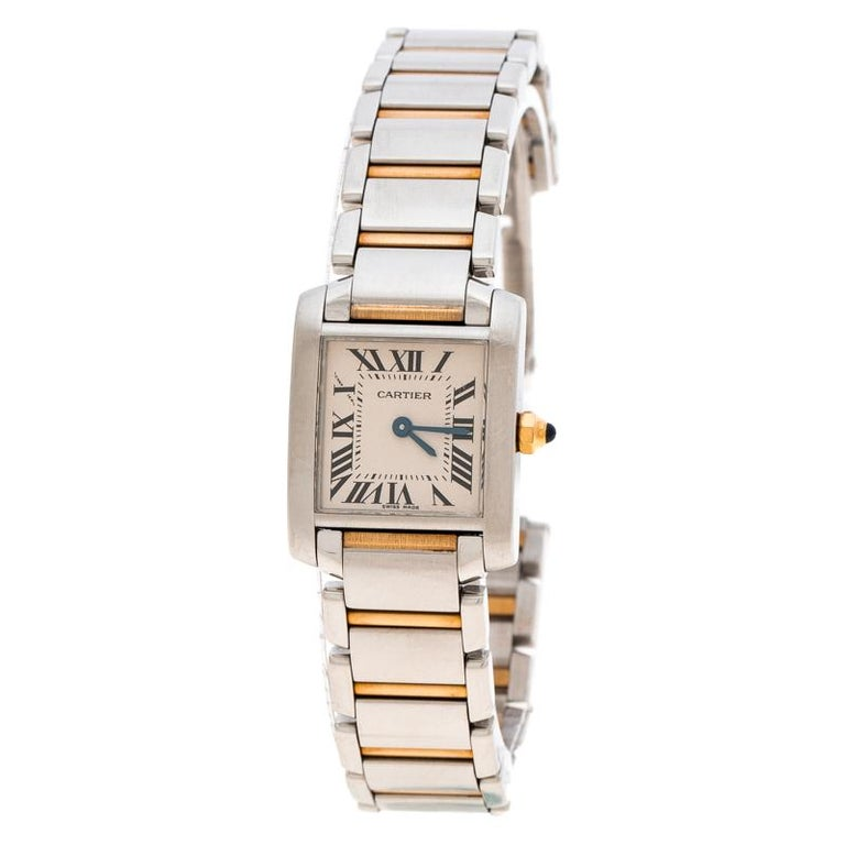 607a5c2d94df0 Cartier Ivory 18K Yellow Gold and Stainless Steel Tank Francaise 2384  Women's Wr For Sale