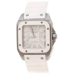 Cartier Ivory Rubber and Stainless Steel Santos Women's Wristwatch 30MM