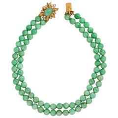 Cartier Jade Bead Diamond Yellow Gold Choker Necklace