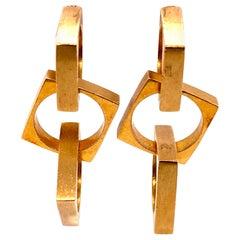 Cartier Jean Dinh Van Designer Gold Ear Pendant Earrings Estate Fine Jewelry