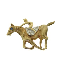Cartier Jockey Horse Race Brooch Pin Gold and Platinum, Diamonds and Sapphires