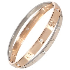 Cartier Joined Love Bracelet in 18 Karat Rose Gold and White Gold 0.75 Carat