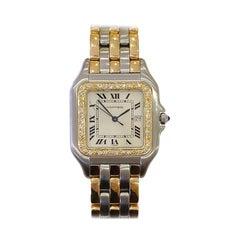 Cartier Jumbo Panthere Three-Row Steel and 18 Karat Gold Diamond Bezel with Date