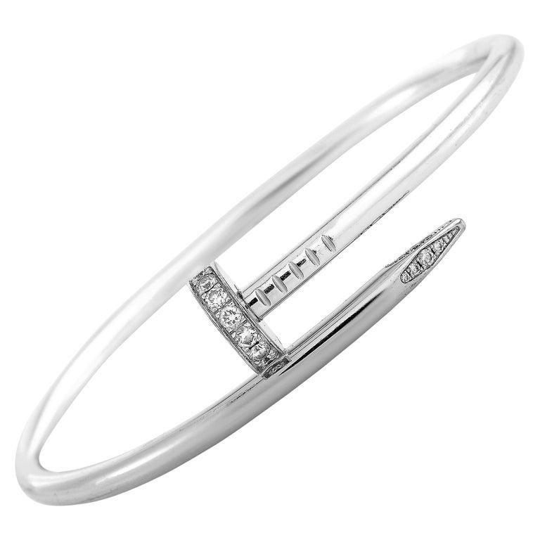 Cartier Juste un Clou 18 Karat White Gold Diamond Bracelet For Sale