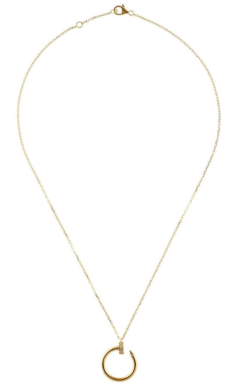 Round Cut Cartier Juste Un Clou 18 Karat Yellow Gold Diamond Pendant Necklace