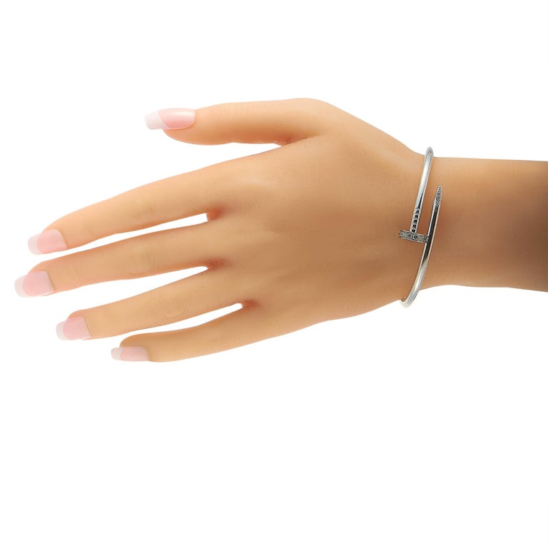 Round Cut Cartier Juste un Clou 18 Karat White Gold Diamond Bracelet For Sale
