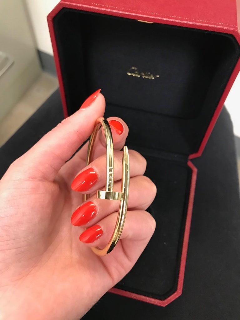Women's or Men's Cartier Juste Un Clou 18 Karat Yellow Gold Bracelet For Sale
