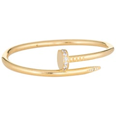Cartier Juste Un Clou Diamond Bracelet 18 Karat Yellow Gold Nail Estate Jewelry