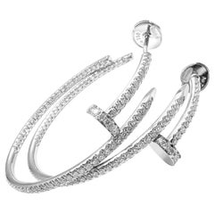Cartier Juste un Clou Diamond Nail White Gold Hoop Earrings