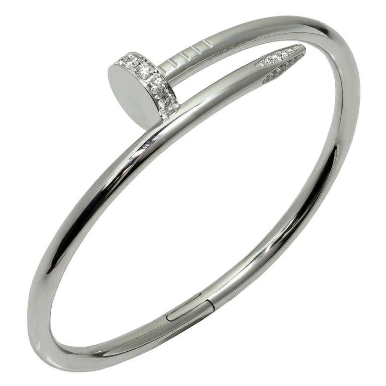 Cartier Juste Un Clou Diamond White Gold Bangle Bracelet For Sale