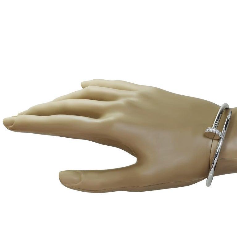 Brilliant Cut Cartier Juste Un Clou Diamond White Gold Bangle Bracelet For Sale