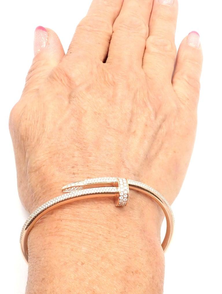 Cartier Juste Un Clou Nail 2.26 Carat Diamond Rose Gold Bangle Bracelet For Sale 6