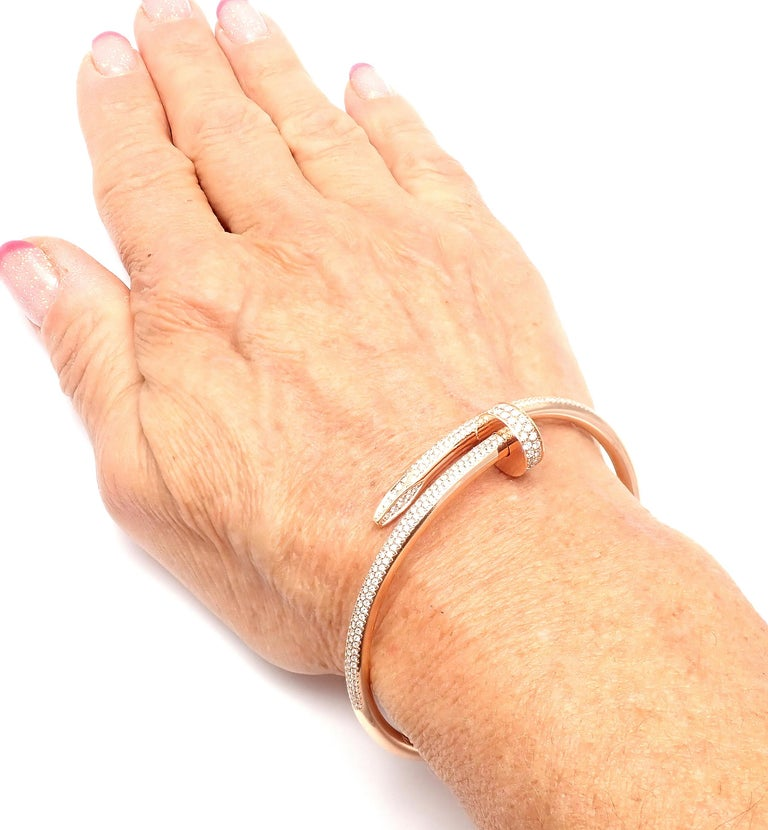 Cartier Juste Un Clou Nail 2.26 Carat Diamond Rose Gold Bangle Bracelet For Sale 7