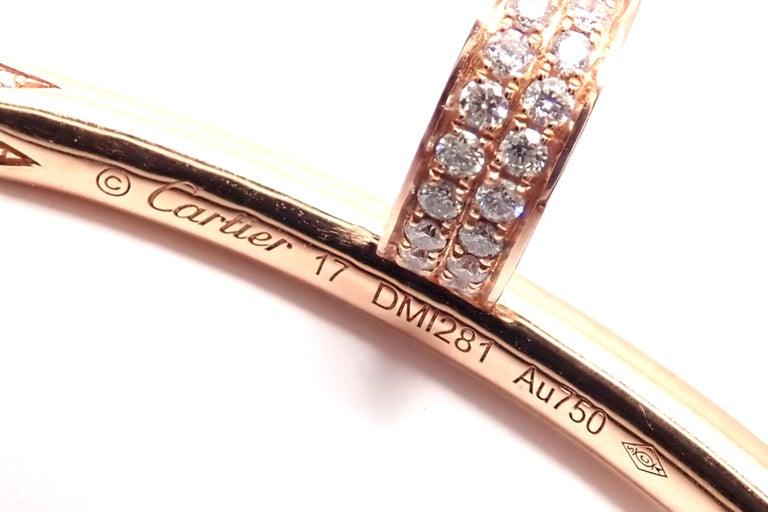 Cartier Juste Un Clou Nail 2.26 Carat Diamond Rose Gold Bangle Bracelet For Sale 8