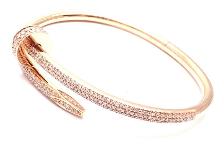 Cartier Juste Un Clou Nail 2.26 Carat Diamond Rose Gold Bangle Bracelet For Sale 1