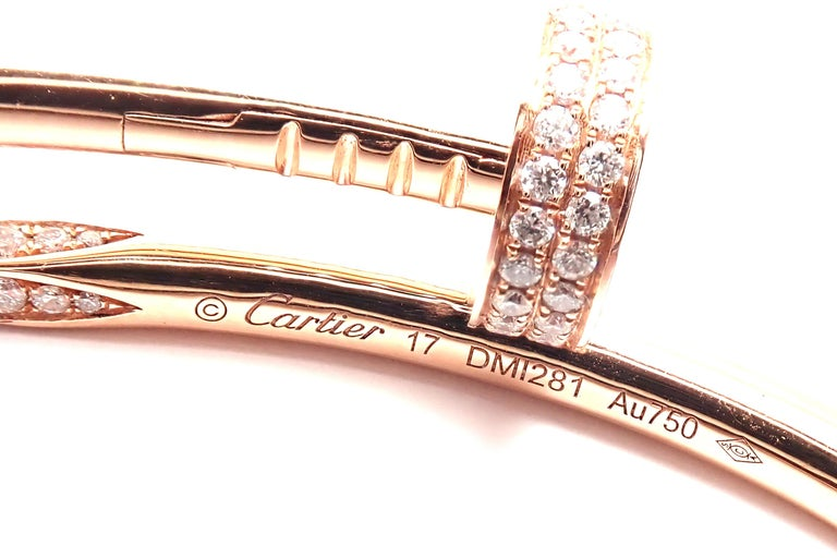 Cartier Juste Un Clou Nail 2.26 Carat Diamond Rose Gold Bangle Bracelet For Sale 2