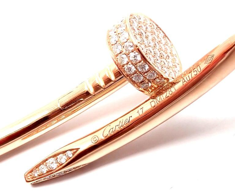 Cartier Juste Un Clou Nail 2.26 Carat Diamond Rose Gold Bangle Bracelet For Sale 4