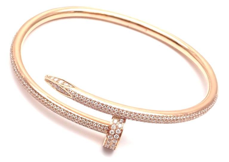 Cartier Juste Un Clou Nail 2.26 Carat Diamond Rose Gold Bangle Bracelet For Sale 5