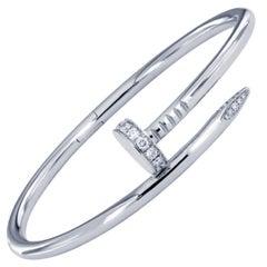 Cartier Juste Un Clou Nail White Gold Diamond Bracelet Size 17