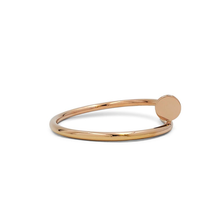 Round Cut Cartier 'Juste un Clou' Rose Gold and Diamond Bracelet For Sale