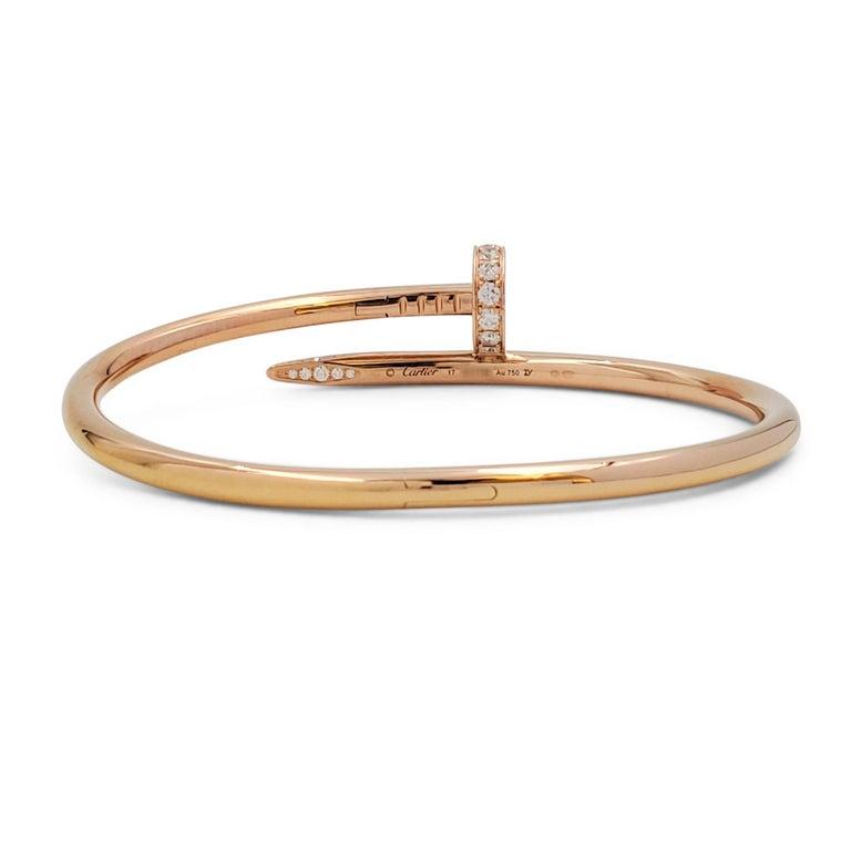 Women's or Men's Cartier 'Juste un Clou' Rose Gold and Diamond Bracelet For Sale